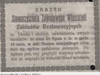 Zebranie właścicieli zakładów restauracyjnych w Płocku