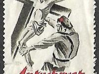 Nalepka z 1920 roku naklejana na korespondencję w celu szerzenia propagandy złego bolszewika, własność Konrad Jan Waluś