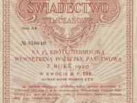 Świadectwo tymczasowe na krótkoterminową wewnętrzną pożyczkę państwową 1920 r. / źródło: blog.starepapiery.com