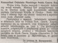 Komunikat Oddziału Płockiego Polskiego Czerwonego Krzyża